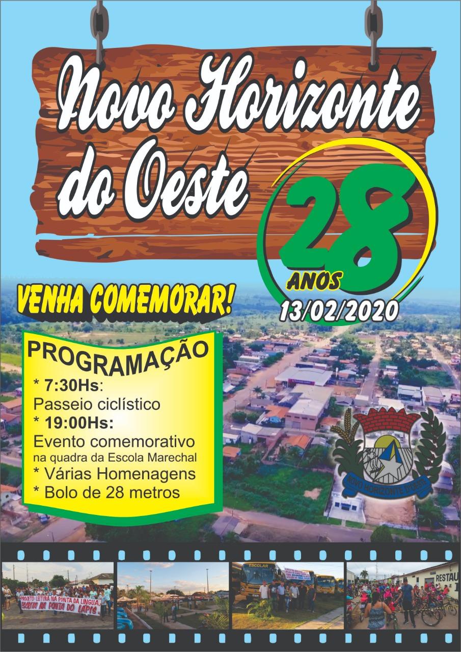 CONVITE: ANIVERSÁRIO DE NOVO HORIZONTE DO OESTE, DIA 13 DE FEVEREIRO.
