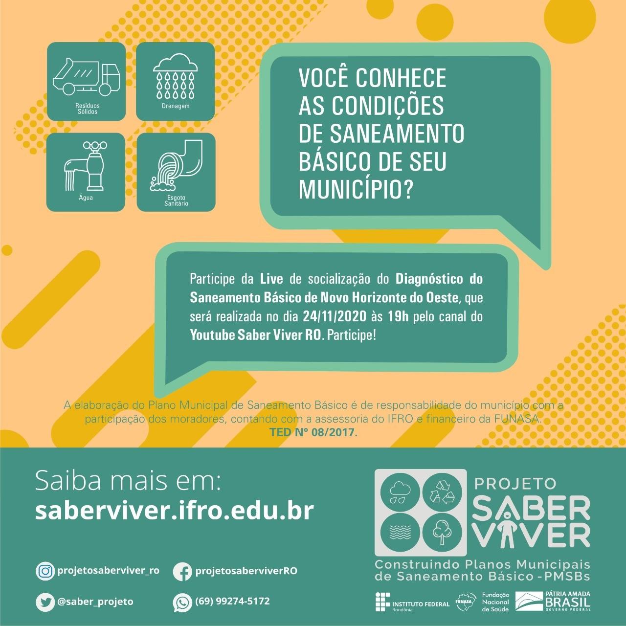 CONVITE PARA AUDIÊNCIA PÚBLICA DO PLANO MUNICIPAL DE SANEAMENTO BÁSICO DE NOVO HORIZONTE DO OESTE/RO